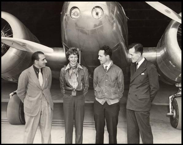 Amelia Earhart seen with her transatlantic flight crew.